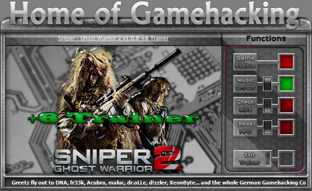 Sniper: Ghost Warrior 2 v1.0.8 +6 Trainer [HoG]