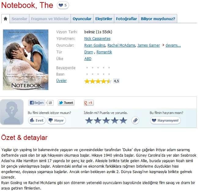 Not Defteri - 2004 DVDRip XviD - Türkçe Dublaj Tek Link indir