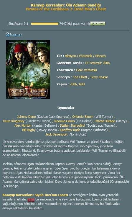 Karayip Korsanlar� 2 - �l� Adam�n Sand��� - 2006 DVDRip - T�rk�e Dublaj indir