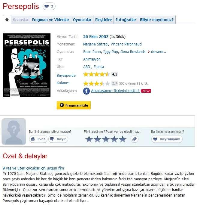 Persepolis - 2007 BDRip x264 - Türkçe Altyazılı tek Link indir